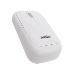 PERIMICE-207 Ratón óptico blanco con brillo piano. Diseño cuadrado