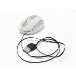 PERIMICE-306 Láser, Color Blanco y Plata. Cable retráctil