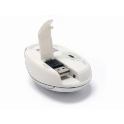 PERIMICE-306 Láser, Color Blanco y Plata. Cable retráctil, detalle