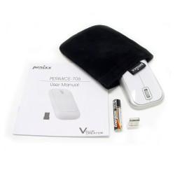 PERIMICE-706 Ratón wireless  Blanco brillo y Plata. Contenido embalaje