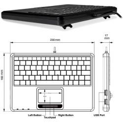 PERIBOARD-510. Teclado reducido con Touchpad incorporado. Dimensiones
