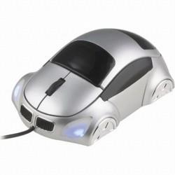 Ratón USB con forma de coche. Plata/Negro