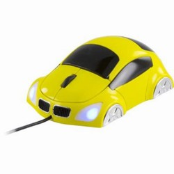 Ratón USB con forma de coche. Amarillo/Negro